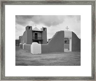 Church At Taos Pueblo Framed Print by David and Carol Kelly