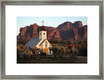 Church At The Superstition Mountains Arizona Framed Print