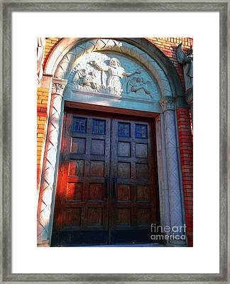 Framed Print featuring the photograph Church Door 1 by Becky Lupe