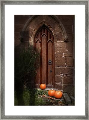Church Door At Halloween Framed Print by Amanda Elwell