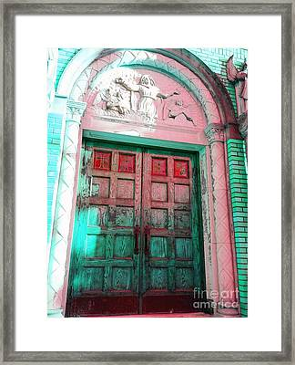 Church Door Framed Print by Becky Lupe