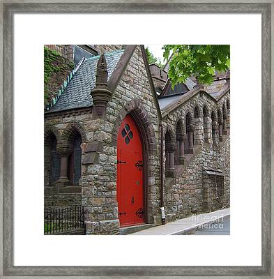 Church Door Framed Print by Val Miller