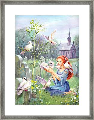 Church Doves Framed Print by Zorina Baldescu