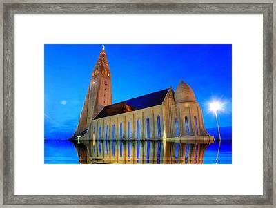 Church In A Water Framed Print