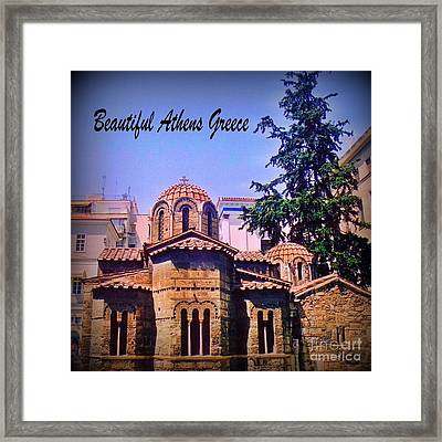 Church In Beautiful Athens Framed Print by John Malone