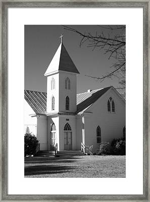 Church In Black And White Framed Print by Carolyn Ricks