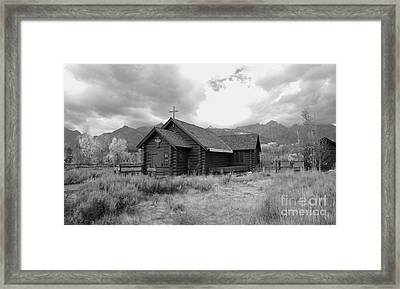 Church In Black And White Framed Print by Kathleen Struckle