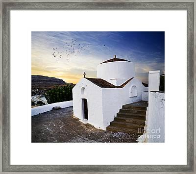 Church In Lindos Rhodes Framed Print by Jelena Jovanovic
