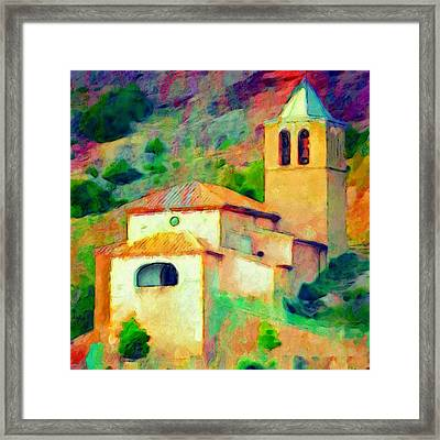 Church In Riglos Spain - Square Framed Print