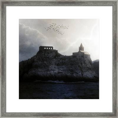Church In Storm Framed Print