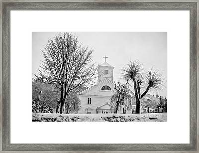 Church In The Snow Framed Print by Mirra Photography
