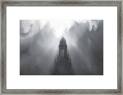 Church In The Storm Framed Print by Kellice Swaggerty