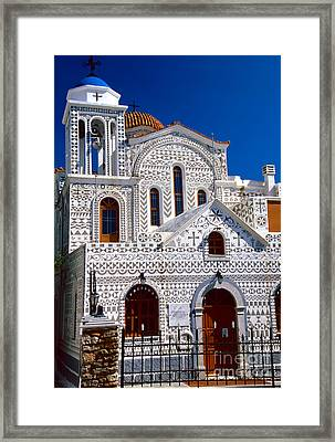 Church Of Geometric Pattern Framed Print by Aiolos Greek Collections