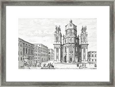 Church Of Notre Dame, Salzburg Framed Print by Johann Bernhard Fischer von Erlach