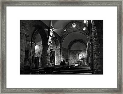 Church Of The Assumption Of Mary In Bossos - Bw Framed Print