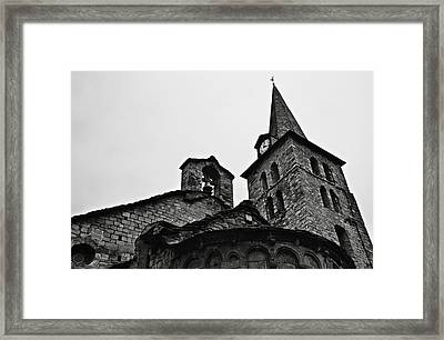 Church Of The Assumption Of Mary In Bossost - Abse And Tower Bw Framed Print by RicardMN Photography