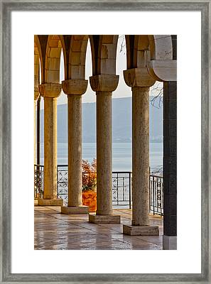 Church Of The Beatitudes Columns Framed Print by Anthony Doudt