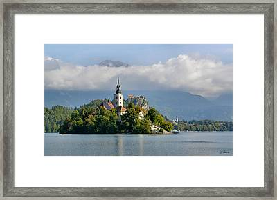 Church On Lake Bled Island Framed Print