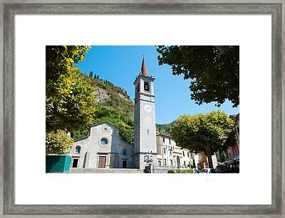 Church On Main Square, Varenna, Lake Framed Print