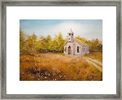 Church On The Hill Framed Print by Alan Lakin