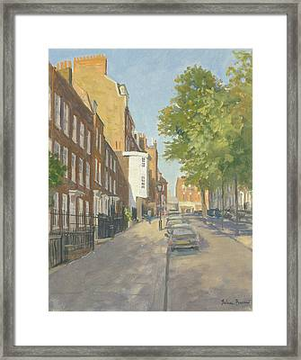 Church Row, Hampstead Oil On Canvas Framed Print by Julian Barrow