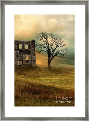 Church Ruin With Stormy Skies Framed Print by Jill Battaglia