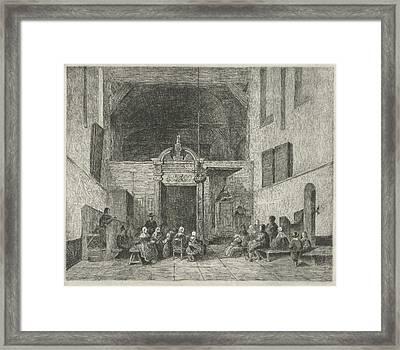 Church Service In A Village Church, Print Maker Eberhard Framed Print by Eberhard Cornelis Rahms And Johannes Bosboom
