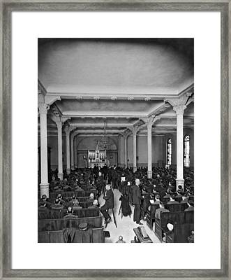 Church Service In Sing Sing Framed Print by Underwood Archives