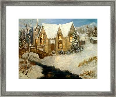 Church Snow Paintings Framed Print