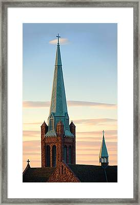 Church Spire At Day's End Framed Print