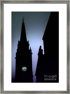 Church Spire At Dusk Framed Print