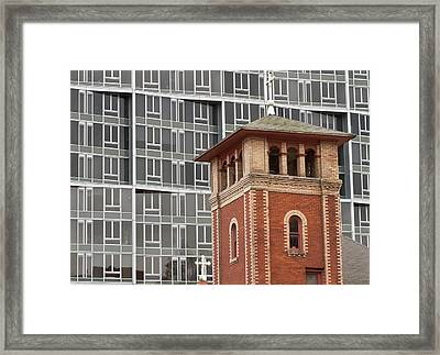 Church Steeple And Apartment Building Framed Print by William Sutton