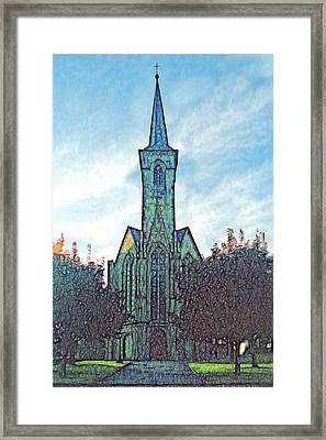 Church Steeple At Sunrise Framed Print