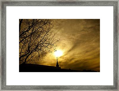 Framed Print featuring the photograph Church Steeple Clouds Parting by Jerry Cowart