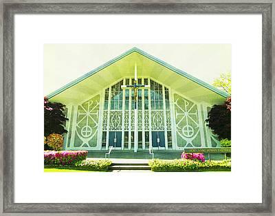 Framed Print featuring the photograph Church Sunburst by Laurie Tsemak