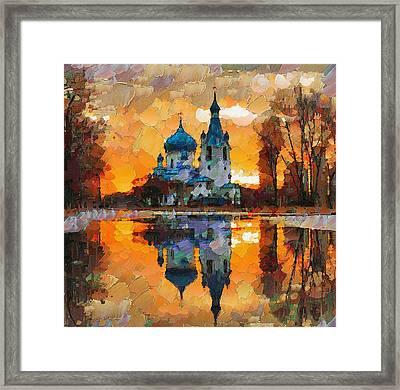 Church Sunset Framed Print by Yury Malkov