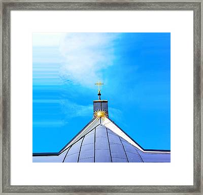 Church Top With Sun And Cross Framed Print by Tommytechno Sweden
