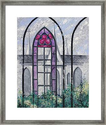 Framed Print featuring the painting Church Window by Artists With Autism Inc