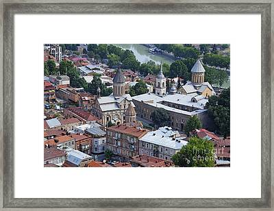 Churches By The Mtkvari River In Tbilisi Framed Print by Robert Preston