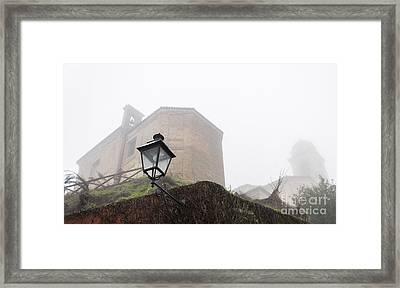 Churches In The Fog Framed Print