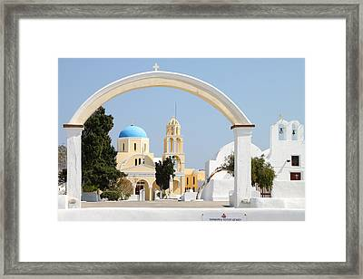 Churches Oia Santorini Greek Islands Framed Print by Carole-Anne Fooks