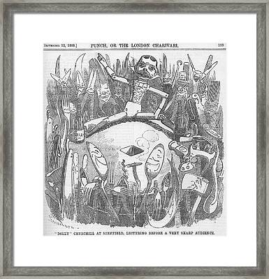 Churchill Lecturing Cartoon Framed Print by Konni Jensen