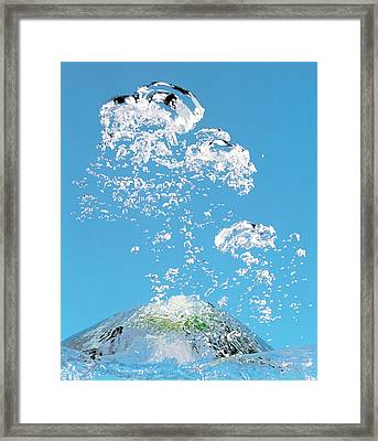 Churning Bubbles Rising Upwards In Blue Framed Print by Panoramic Images