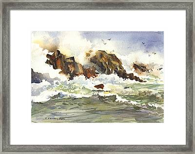 Churning Surf Framed Print