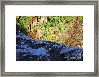 Churning Waters. Cliffs At Narada Falls Framed Print by Connie Fox