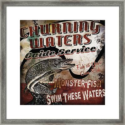 Churning Waters Sign Framed Print by JQ Licensing