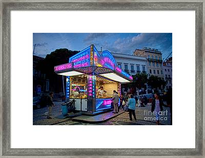 Churros Stand With Neon Lights 1 Framed Print by David Smith