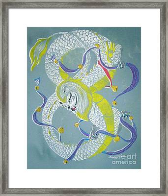 Framed Print featuring the pastel Chu's Dance Of 12 Bells by Wendy Coulson