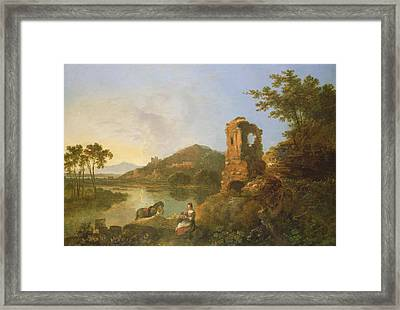 Ciceros Villa Oil On Canvas Framed Print