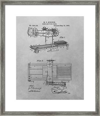 Cider And Wine Press Patent Drawing Framed Print by Dan Sproul